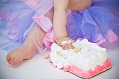 Child birthday smash the cake Royalty Free Stock Image