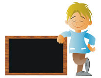 Child with a blackboard at school Royalty Free Stock Images