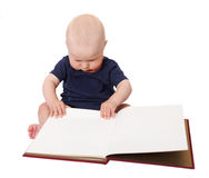 Child with blank album. Little child with blank album isolated Royalty Free Stock Photos