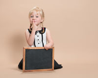 Child With Blank Blackboard Royalty Free Stock Photo