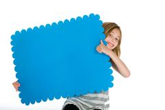 Child with a blank blue sign Royalty Free Stock Photos