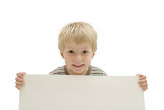 Child with Blank Sign Stock Image