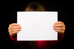 Child with blank white sign Stock Photography