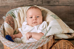 Child and blanket. Infant boy in a basket Stock Photos