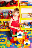 Child with  block and construction set . Stock Photography