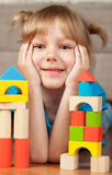 Child and blocks Stock Image