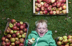 Child blond boy lying on the green grass with apples background, holding, eating and biting apple Royalty Free Stock Photo