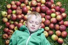 Child blond boy lying - resting on the green grass background with pile of apples Stock Images