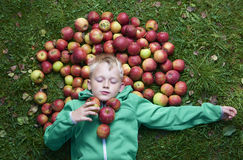 Child blond boy lying - resting on the green grass background with pile of apples Stock Photos