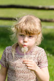 Child blowing dandelion Stock Images