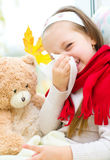 Child blowing nose Stock Photography