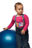 Child  with blue ball Royalty Free Stock Image