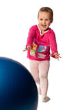 Child  with blue ball Stock Image