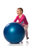 Child  with blue ball Royalty Free Stock Photo