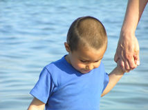 Child in blue shirt Stock Images