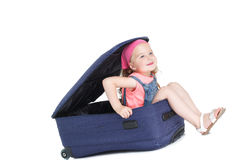 Child with blue suitcase Royalty Free Stock Photo