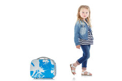 Child with blue suitcase Royalty Free Stock Photos