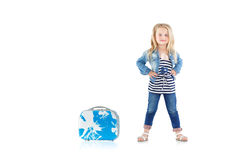 Child with blue suitcase Royalty Free Stock Image
