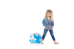 Child with blue suitcase Stock Photos