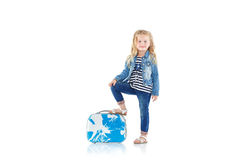 Child with blue suitcase Royalty Free Stock Photography