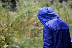 Child in a blue waterproof coat in the rain royalty free stock photos