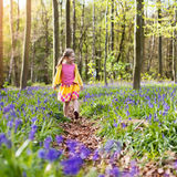 Child with bluebell flowers in spring forest Royalty Free Stock Photos