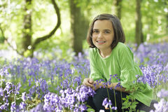 Child and bluebells Royalty Free Stock Images