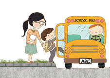 Child Boarding School Bus. An artwork of a teacher helping her student to board the school bus Stock Photo