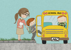 Child Boarding School Bus Background Color. An artwork of a teacher helping her student to board the school bus Royalty Free Stock Photo
