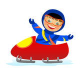 Child on bobsleigh Stock Photo