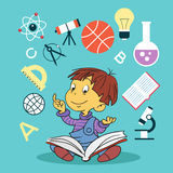 Child with book and education icons. Concept of education stock illustration