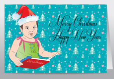 Child with book wish merry Christmas Royalty Free Stock Images