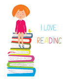 Child and books - love to read concept Royalty Free Stock Photos