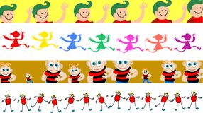 Child borders. Set of four cute colourful child page border designs Stock Images