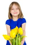 Child with a bouquet of flowers Royalty Free Stock Photos