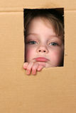 Child in box. Young girl looking from brown carton box Stock Photography
