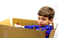 Child in a Box royalty free stock image