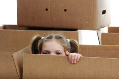 Child in box Royalty Free Stock Photography