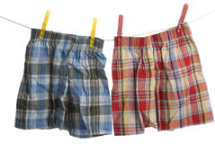 Child boxer shorts on laundry line. Child plaid boxer shorts on laundry line Stock Images