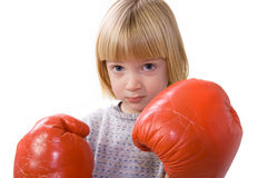 Child boxing fighter gloves Stock Photo