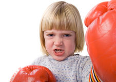 Child boxing fighter gloves Royalty Free Stock Photos