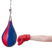 Child with boxing glove punches punching bag Royalty Free Stock Photos