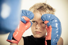 Child with boxing gloves focusing on punching pad Royalty Free Stock Photography