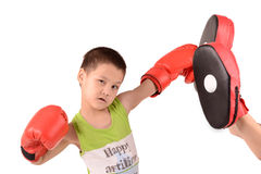 Child with boxing gloves. Hit on Boxing paw royalty free stock images