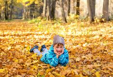 Child boy in autumn park with foliage. royalty free stock photo