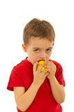 Child boy biting apple Stock Photos