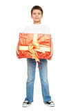 Child boy with box gift isolated on white background, holiday concept Stock Images