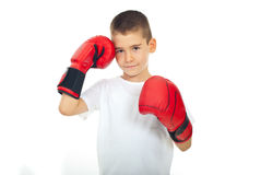 Child boy with boxing gloves Royalty Free Stock Images