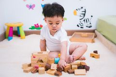Child boy building playing toy blocks wood. Indoors room royalty free stock photography
