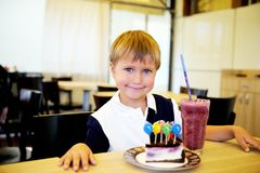 Child boy celebrating his birthday Stock Images